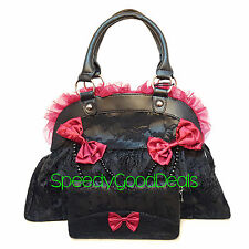 Banned Elegant Red Bow Skull Ivy Goth Steampunk HANDBAG & WALLET Gift SET Black