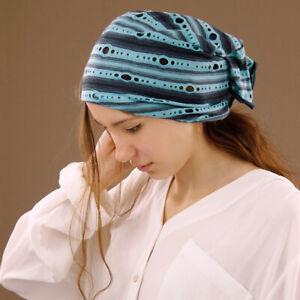 Extra Wide Blue Stripe Tube Headband Hair Wrap Head Cover Boho Dreadlocks