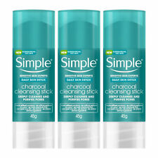 3pk or 6pk x 45gm Simple Daily Skin Detox Charcoal Cleansing Stick