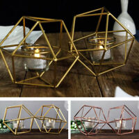 5-Inch tall Jointed Geometric Stand with Tealight Votive Glass Candle Holders