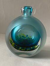 Jane Charles Blue and Green  Signed Glass Vase/Bottle