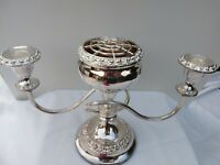 Lovely Unusual Vintage Rose bowl Candelabra English Silver Plate 50s mayb unused