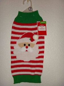 Christmas Holiday Time Simply Dog UGLY SWEATER Knit Red Striped Santa Claus Sz M