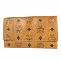 Auth MCM Vintage Logos Monogram Leather Bifold Long Wallet Purse F/S 14288bkac