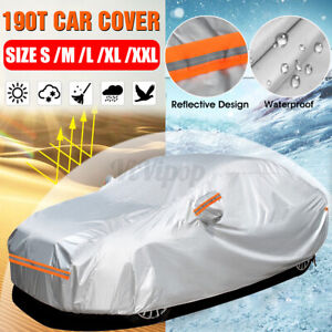 Full Car Cover Waterproof Breathable Sun UV Dust Rain Resistant 190T 5 Sizes