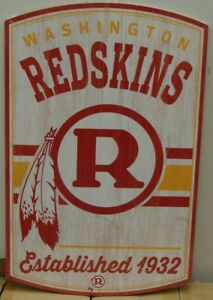 "WASHINGTON REDSKINS CLASSIC RETRO LOGO EST. 1932 WOOD SIGN 11""X17'' NEW WINCRAFT"