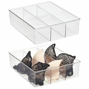mDesign Plastic Divided Closet, Drawer Storage Bin, 3 Sections, 2 Pack - Clear