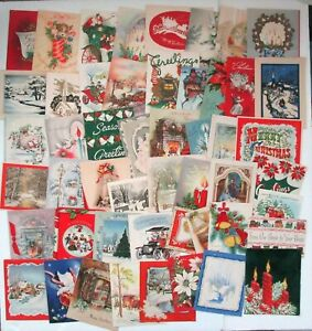 50 Vintage Used Christmas Cards 1940s-1950s Lot 2