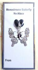 Black & White Monochrome Butterfly Necklace 18 in Black Silk Ribbon on Gift Card