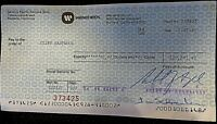 CLINT EASTWOOD ONE-OF-A-KIND 1985 PAYCHECK FROM WARNER BROS.