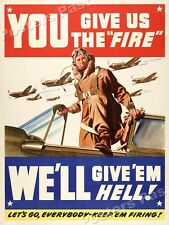 "WW2 ""You Give Us the Fire!"" 1942 WWII Army Air Force Poster - 18x24"