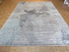 10 X 14 Hand Knotted Blue Gray Modern Abstract Oriental Rug With Silk G4181