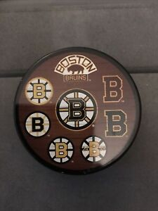 BOSTON BRUINS VINTAGE 8 LOGO NHL OFFICIAL PUCK EXTREMELY RARE! GREAT SHAPE!!