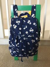 NWT Hollister Women Flower Floral Print Backpack School Book Bag Tote Navy