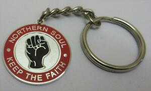 KEYRING - NORTHERN SOUL BADGE - KEEP THE FAITH - IN 4 COLOURS