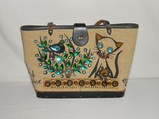 Vintage Edid Collins Canvas, Leather & Wood Bird Watcher II Jeweled Purse