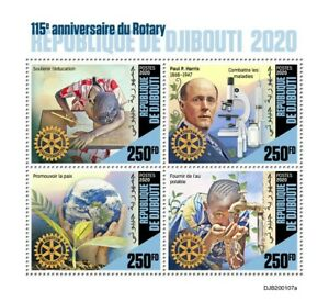 Djibouti Rotary International Stamps 2020 MNH Paul Harris Famous People 4v M/S