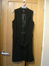 Topshop Black Long Womens Sleeveless Jacket Size 8 (Ref 0) Ex Condition