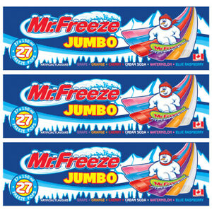 Mr. Freeze Jumbo Ice Pops, 27x150ml Freezies, (3 Cases) {Imported from Canada}