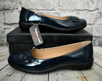 Womens Cushion Walk Ruby Navy Slip On Low Heel Shoes Various Sizes!
