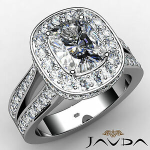 Circa Halo Split Shank Cushion Diamond Engagement Ring GIA I VS2 Clarity 2.4Ct