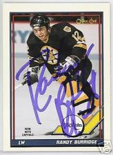 RANDY BURRIDGE BOSTON BRUINS 1991 O P C  AUTOGRAPHED HOCKEY CARD JSA