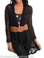 Black Open Knit Crochet Sweater Shrug/Cover-Up Tunic Cardigan w/ Belt