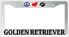 Chrome License Plate Frame Peace Love Paw Golden Retriever Auto Accessory 409