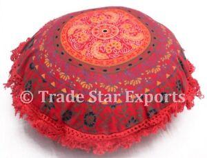"""Ethnic Mandala Fringe Cushion Cover 16"""" Cotton Round Sofa Pillow Sham With 2 Pcs"""