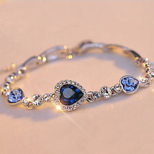 Damen Silber Armband Strass Zirkonia Kristall Tennis Herz Blau Anhänger Armkette