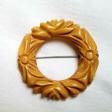 Vintage Egg Yolk or Mustard Ornate Circle Shape Bakelite Carved Brooch