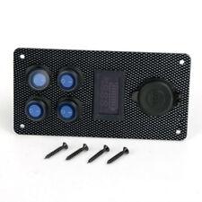 Car Boat Marine On-Off LED Rocker Panel Switch Dual USB Charger Voltmeter Gauge