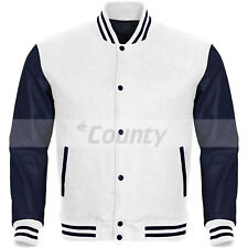 Bomber Varsity Letterman Baseball Jacket White Body & Navy Blue Leather Sleeves