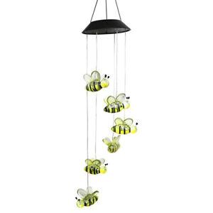 Honey Bee Wind Chime Solar Lamps Outdoor Hanging Pendant Light Garden Decor
