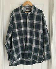 Flannel Shirt LL Bean  XL Tall Long Sleeve Blue green Plaid