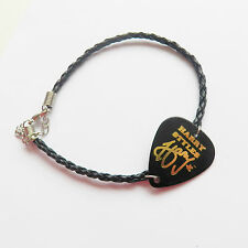 ONE DIRECTION 1D HARRY guitar pick plectrum black LEATHER braid twist  BRACELET