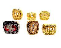 6 Pcs Collectors Rings San Francisco 49ers Football Champion Ring - All Sizes
