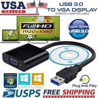 USB to VGA Multi Monitor Display Cable Adapter Card 1080p Video Support Win PC