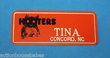 HOOTERS RESTAURANT GIRL TINA CONCORD, NC ORANGE NAME TAG -  Waitress Pin