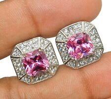 6CT Pink Sapphire & White Topaz 925 Solid Sterling Silver Earrings Jewelry