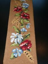 Antique Needlepoint Embroidery Floral Brass Handle Bell Pull