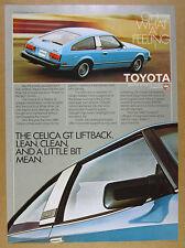 1980 Toyota Celica GT Liftback blue car color photo vintage print Ad