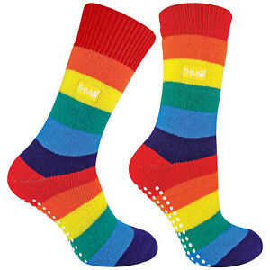 THMO - Mens & Womans Thick Winter Thermal Rainbow Slipper Socks with Grips