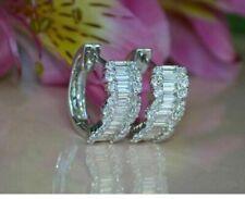 2.00 Ct Baguette Cut Diamond Wedding Hoop/Huggie Earrings 14K White Gold Finish