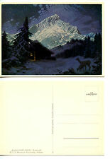 Winter Night-Cabin-Beautiful Mountain-Georg Broel Art Drawing-Modern Postcard