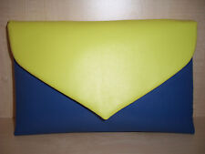 OVER SIZED YELLOW & ROYAL BLUE faux leather clutch bag, fully lined BN lovely!