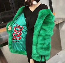 Fashion Candy Color Faux Fox Fur Furry Warm Jacket Coat Mid Long Outerwear Top