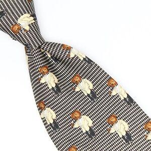 Polo Ralph Lauren Mens Silk Necktie Tuxedo Bear Houndstooth Check Print Tie