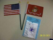 Small Marine and USA Flag Combo Stick Flags plus Free RFID Identity Blockers