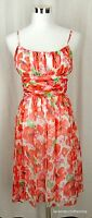 Muse Boston Proper 2 Red Poppy 100% Silk Rouched Bust Flutter Dress NWT